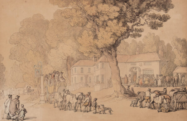ROWLANDSON Thomas (1756-1827) - The Kings Head, Roehampton (still standing and recognisable).