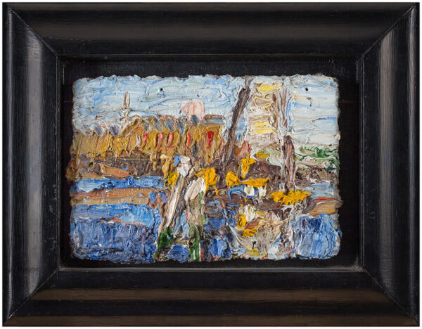 ROWLETT George (b.1941) - 'Blue and Yellow Cranes over Brunnel's Tunnel'.