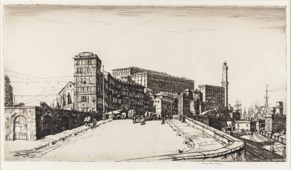 RUSHBURY Henry R.A. R.E. R.W.S. (1889-1968) - 'Genoa' (R.