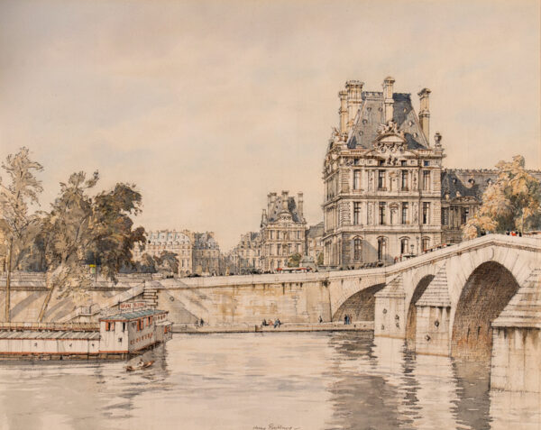 RUSHBURY Sir Henry R.A. R.E. (1889-1968) - Paris: the Pont Royal and Pavillion de Flore.