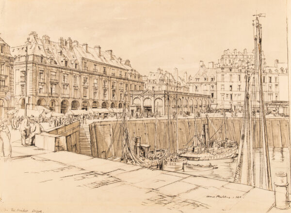 RUSHBURY Sir Henry R.A. R.E. (1889-1968) - The Fish Market and Quay, Dieppe.