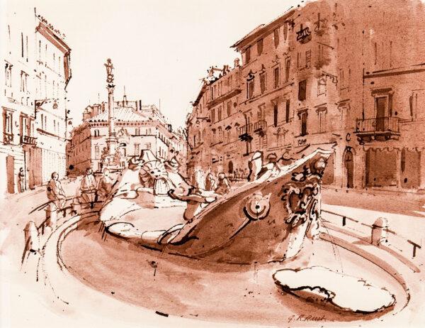RUST Graham (b.1942) - The Fontana della Barcaccia, Piazza di Spagnia.