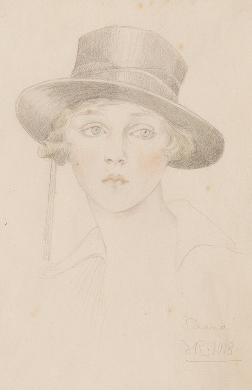 RUTLAND Violet, Duchess of (1856-1937) - 'Diana' (Lady Diana Cooper, nee Manners, 1892-1986) Pencil and watercolour.