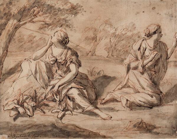 RYSBRACK John Michael (1693-1770) - Women and Bird, possibly from Aristophanes 'The Birds'.