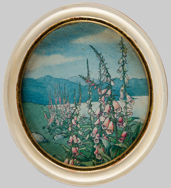 SANDBERG Alexandra Forbes (Exh:1933-1939) - Foxgloves beside a lake.