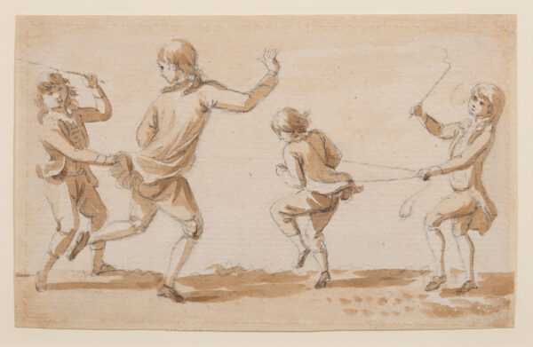 SANDBY Paul R.A. (1721-1798) - Boys playing at pony and cart.