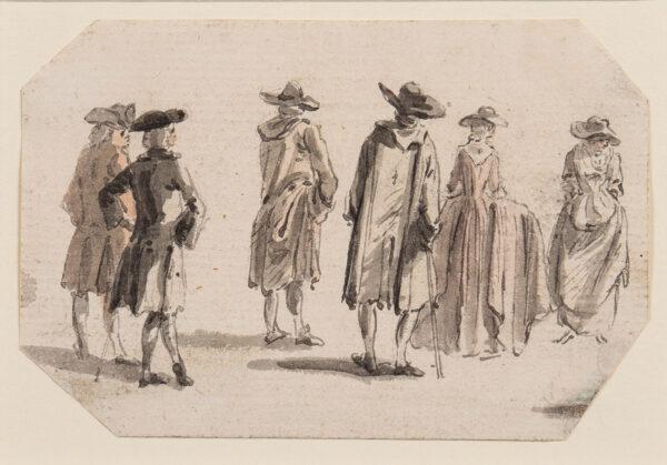 SANDBY Paul R.A. (1721-1798) - A group of figures promenading.