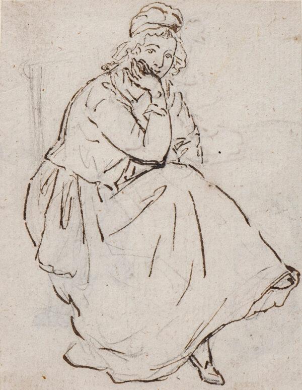 SANDBY Paul R.A. (1725-1809) - Seated girl.