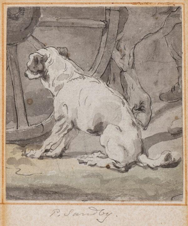 SANDBY Paul R.A. (1725-1809) - Dog at a cart's wheel.