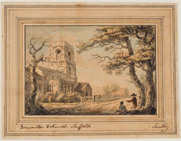 SANDBY Paul R.A. (1731-1809) - 'Erwarton Church, Suffolk'.