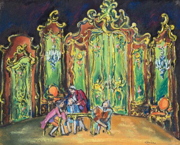 SCHICK Heidi (1909-1999) - 'Zimer bei Ottavia' (sic) Pastel stage design for a production of Goldon's 'Ottavia'.