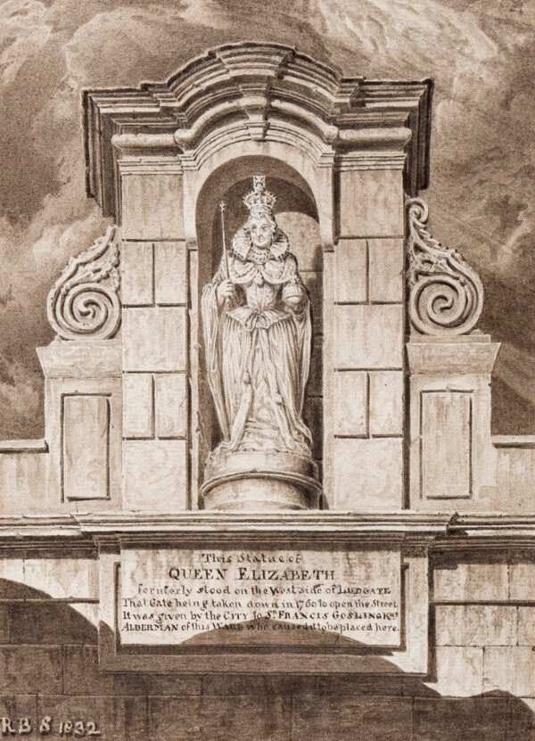 SCHNEBBELIE Robert Blemmel (fl.1803-1849) - 'The Statue of Queen Elizabeth / formerly stood on the West Side of Ludgate…'.