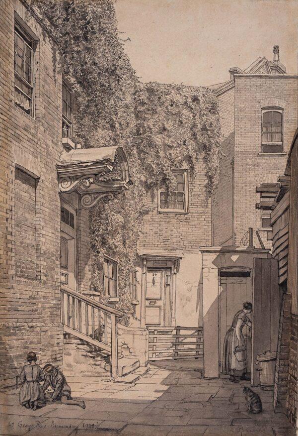 SCHWABE Randolph R.W.S. N.E.A.C. (1885-1948) - 'Bermondsey, Bridge House, 64 George Row'.