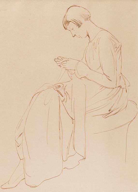 SCHWABE Randolph R.W.S. N.E.A.C. (1885-1948) - 'Birdie sewing'.