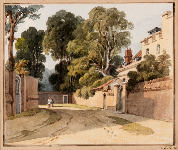 SCOTT Caroline Lucy (Lady) (nee Douglas 1784-1857) - 'Ham Lane', (?Old Windsor) Watercolour.