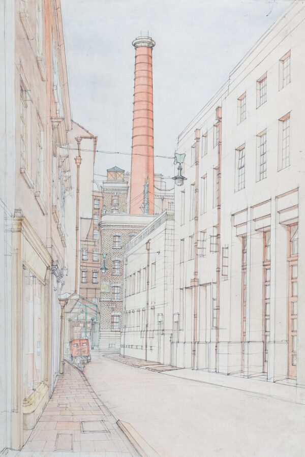 SCOTT Gordon (1914-2016) - Bristol: the Central Fire Station, and Fry's Factory chimney.