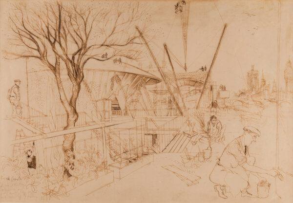 SEARLE Ronald (1920-2011) - The Construction of the Festival of Britain.
