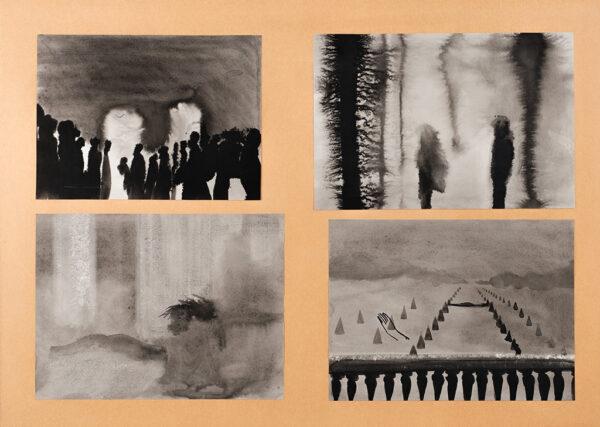 SELF Colin (b.1941) - 'Last Year at Marienbad: Figures in ballroom / Two people on the balcony / Bedroom / The balcony'.