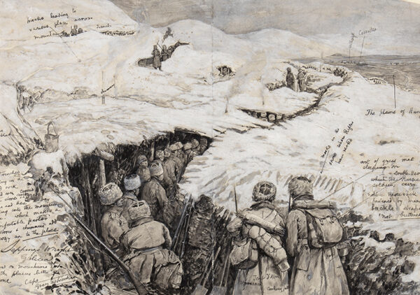 WRIGHT Henry Charles Seppings (1850-1937) - 'Galicia…Russian Troops in snow clad hills'.