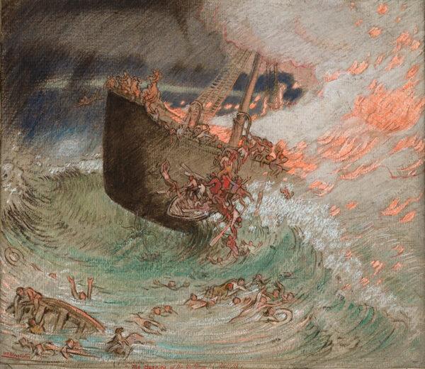 SHACKLETON William (1872-1933) - 'The Burning of the S.