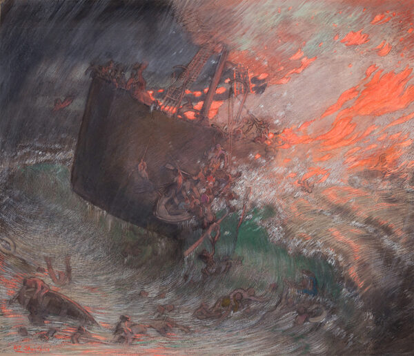 SHACKLETON William (1872-1933) - The wreck of a blazing ship.