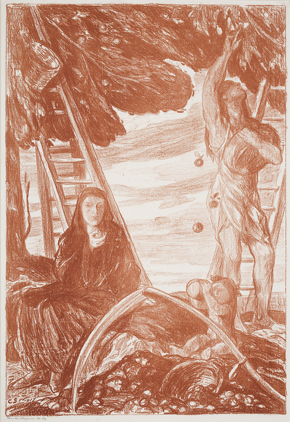 SHANNON Charles Haslewood R.A. (1863-1937) - 'Autumn' Lithograph printed in red.
