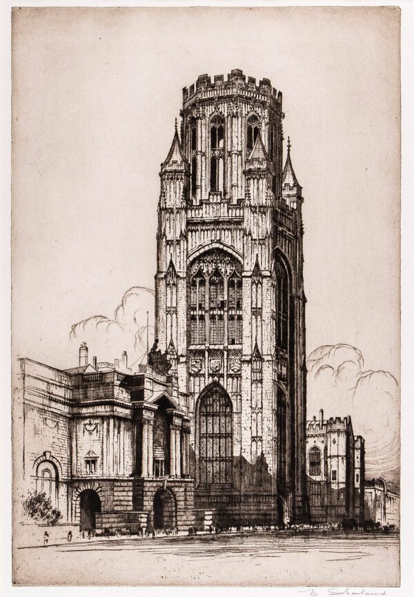 SHARLAND Edward W (1884-1967) - Bristol: The Wills Memorial Tower, completed.