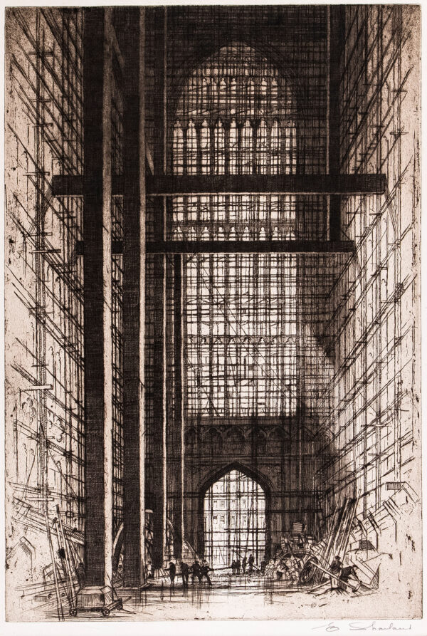 SHARLAND Edward W (1884-1967) - Bristol: The interior of the Wills Memorial Tower under construction.
