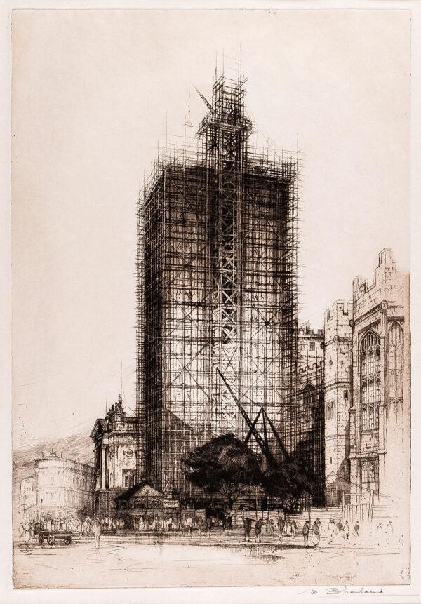 SHARLAND Edward W (1884-1967) - Bristol: The Wills Memorial Tower under construction.