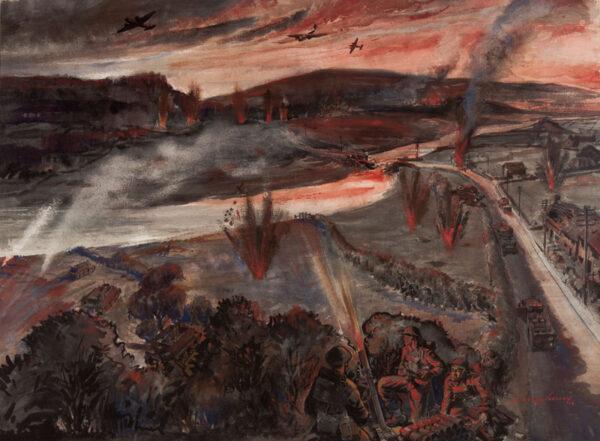 SHELDON H. Harry (1917-2002) - Advancing under fire.
