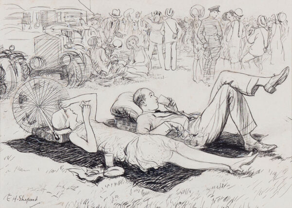 SHEPARD Ernest Howard (1879-1976) - 'The Air Force Pageant – the couple who were determined to miss nothing / Aerobatic thrills during the lunch break' Pen and ink for Punch Circa 1925.