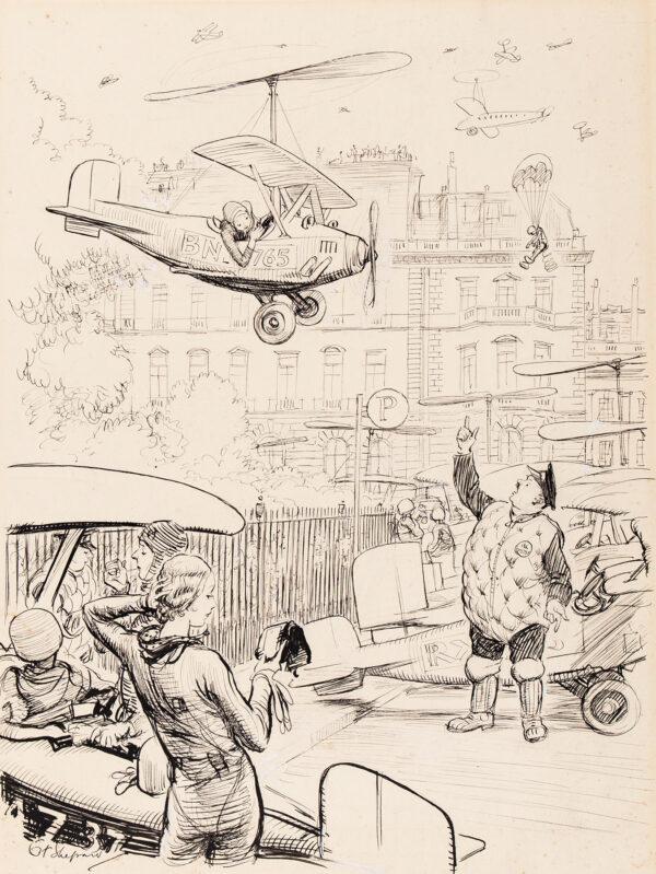 SHEPARD Ernest Howard M.C. (1879-1976) - 'Looking Forward – Parking in Town'.