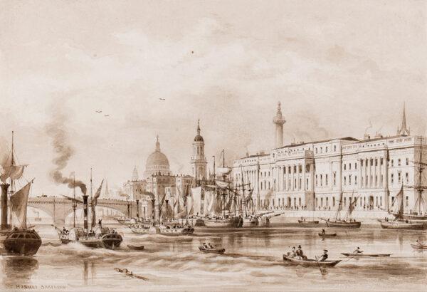 SHEPHERD Thomas Hosmer (1792-1864) - The Custom's House, London, (1825-1827) designed by Sir Robert Smirke Pen, brush and sepia ink.