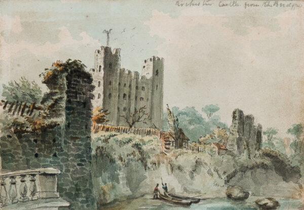 SHEPHERD George (1784-1862) - 'Rochester Castle from the bridge'.