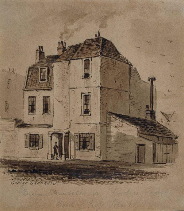 SHEPHERD George N.W.S. (1784-1862) - 'Back of Cross Street / Queen Elizabeth's, or Fowlers Lodge'.