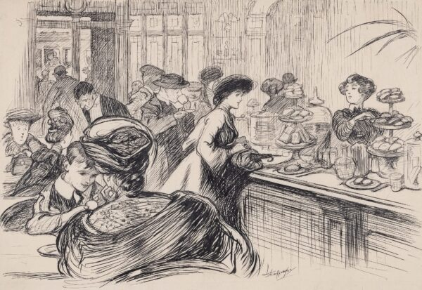 """SHEPPERSON Claude Allin A.R.A. (1867-1921) - 'Lady (at Railway Restaurant Counter) """"Will you please give me a Bath Bun?"""" Waitress """"Will you eat it here or in a bag?"""" … '."""