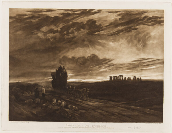 SHORT Sir Frank R.A. P.R.E. (1857-1945) - 'Stonehenge at day break' Mezzotint after a sepia drawing by J M W Turner (mezzotinted but not publishes).