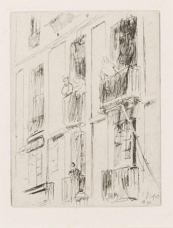 Walter Richard SICKERT R.A. N.E.A.C. (1860-1942) - 'Dieppe, La Rue de la Halle au Ble, 1893' (RB.