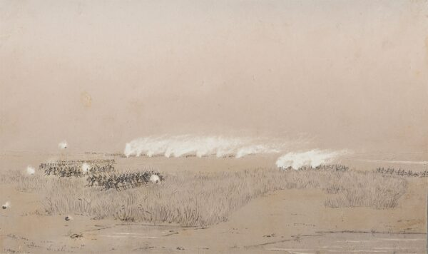 SITWELL Lt. Harold Cooper, 9th Bengal Light Infantry (1837-1884) - Indian Mutiny: 'Action at Seray Ghat' (sic) Pencil, ink and gouache on toned paper.