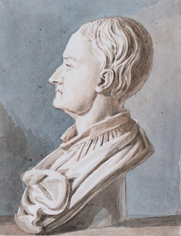 SMITH John Thomas (1766-1833) - 'Sir Isaac Newton'Watercolour on paper watermarked 1828.