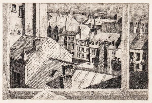 SMITH Erik (1914-1973) - Paris : 'Sous le toits': view from the artist's studio Etching.