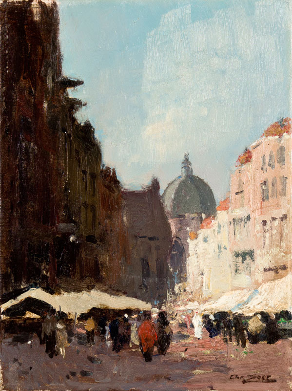 SOER Chris (1882-1962) - View from Wetstraat towards Eglise St Marie, Brussels.