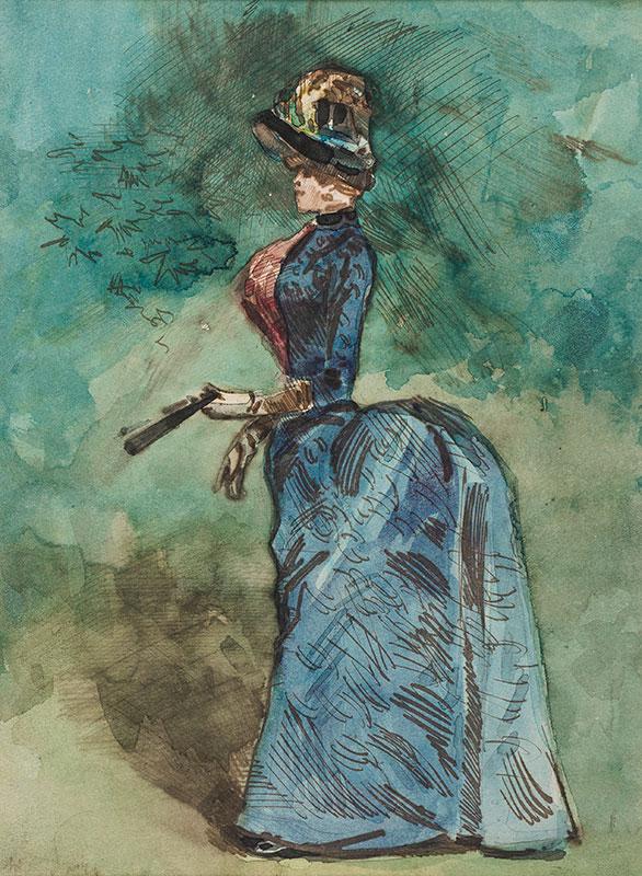 SOMM Henri (1844-1907) - 'Dame en tenue 1900'.