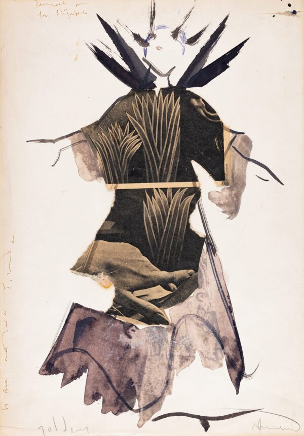 SONNABEND Yolanda (1935-2015) - 'Goddess': Elizabeth Welch (1904-2003) Ink, watercolour and collage costume design for the Soprano Elisabeth Welch in Derek Jarman's film 'The Tempest', 1979.