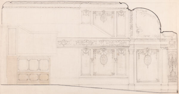 SOUSTER Ernest George William (1882-1953) - Designs for the interior of the 'Oxford and Poland Street Cinematograph Theatre': Auditorium ceiling and back wall (25x34.
