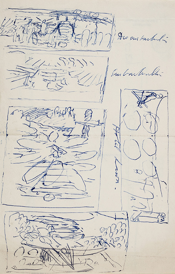 SPENCER Sir Stanley R.A. (1891-1951) - Recto: composition studies for 'Disembarkment', 'Embarkation' and 'Hotel Lawn'.