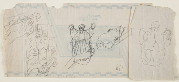 SPENCER Sir Stanley R.A. (1891-1951) - Composition studies on reverse of 'Challenge Toilet Tissue' wrapping.