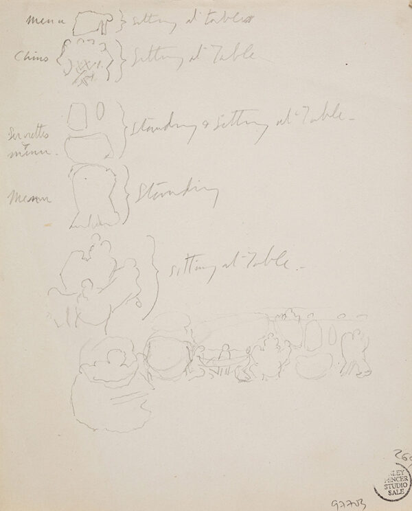 SPENCER Sir Stanley R.A. (1891-1951) - Composition studies, 'Sitting / Standing at Table'.