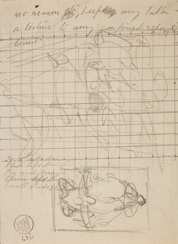 SPENCER Sir Stanley R.A. (1891-1951) - Recto: squared up composition study, and notes.