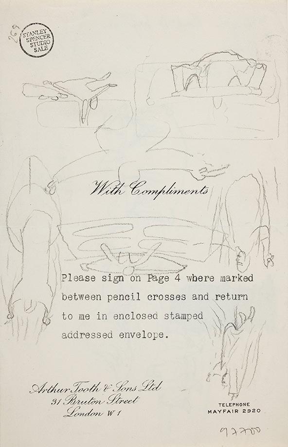 SPENCER Sir Stanley R.A. (1891-1951) - Composition studies: 'Part of Baptism … H.